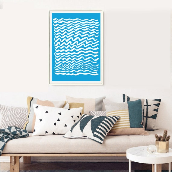 GRÈCE #005 // poster, Abstract art, 12x18, minimalist art print, geometric, mid century, Scandinavian style, blue, greece