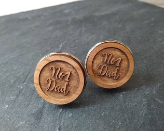 Number 1 dad cufflinks, No1 Dad cufflinks, Wooden cufflinks, gift for him, father's day gift, mens gift, personalised cufflinks