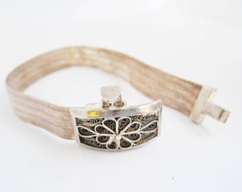 Vintage Turkish Bracelet from Trabzon, Hand Woven Sterling Silver Mesh, Turkish Jewelry, Ethnic Jewelry