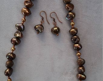 Chocolate Freshwater Pearl Necklace & Earrings