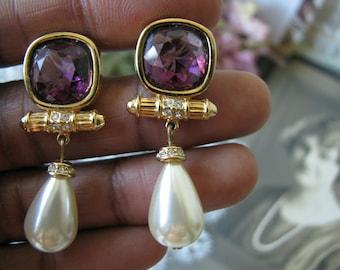 Vintage Swarovski Earrings, Swarovski Crystal Earrings, Swarovski Pearl Earrings