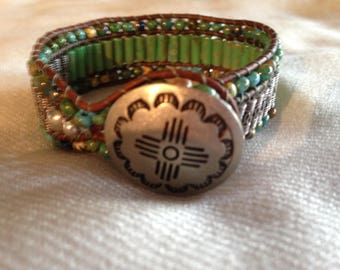 Teal and silver, beaded leather cuff