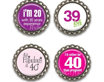 Age 40 Bottle Cap Magnets, Bottlecap magnets, Set of 4, CHOOSE from Ages 30 to 75.