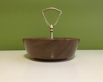Vintage Solid Wood Nut Bowl with Centre Handle