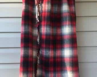 Blanket skirt, Maxi Skirt,Red Tartan Blanket Skirt, Fringed Tartan Skirt, Size 14, Wrap Skirt,Vintage Womens Clothing, Vintage Talbots