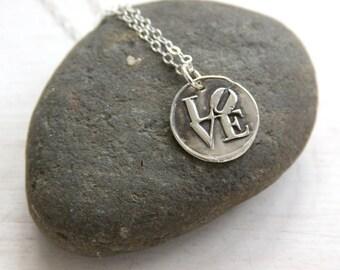 Love necklace, wax seal necklace, wax seal jewelry, philadelphia, everyday jewelry, charm necklace