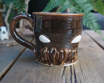 Hand thrown ceramic Cthulhu mug-stoneware