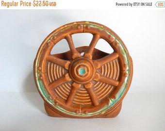 Sale - Mid Century Western Ceramic Wagon Wheel Vase / Wall Pocket