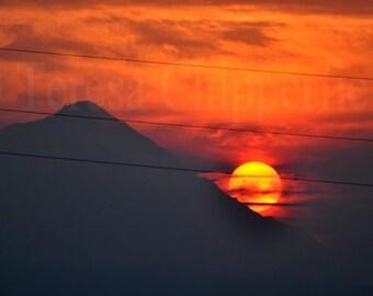 Mountain Photography, Sunset Over Mt. Hood, Beautiful Mountain Decor, Nature Art Photography, Landscape Print, Orange, Red Shadow, Fiery Sky