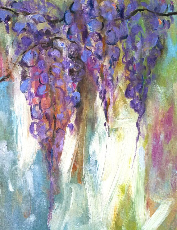 Wisteria painting, flower art, painting of purple wisteria, gifts for mom, abstract lavender, South Carolina garden, southern vine flowers