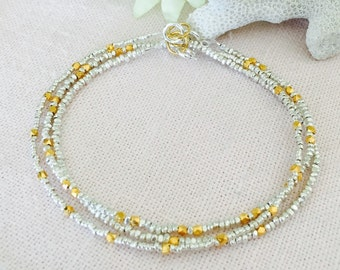 Fine Silver Nugget and 24k Gold Vermeil Nugget Stacking Bracelets