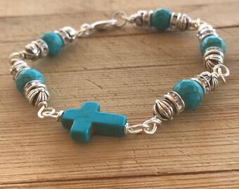 Turquoise Bracelet, Beaded Bracelet, Cross Bracelet, Czech Glass Bead Bracelet, Religious Bracelets, Boho Bracelet, Sideways Cross Bracelet