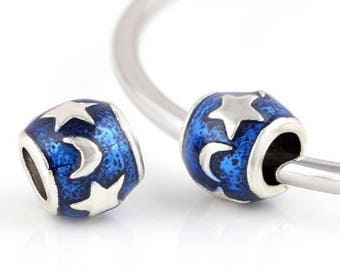 Blue European Beads, Moon and Stars, Large Hole Beads, Spacers, SALE Price, Fits European Charm Bracelets 1 piece Jewelry Maker