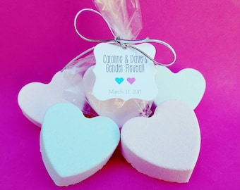 Gender Reveal Party, Gender Reveal Party Favors, Gender Reveal Favors, Personalized Favors, Baby Shower Favors, 12 Handmade Bath Bomb Hearts