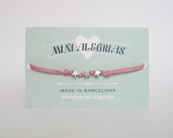 STARS bracelet, minimalist bracelet, cotton cord bracelet, friendship bracelet, anklet, cord bracelet, charm bracelet, adjustable bracelet