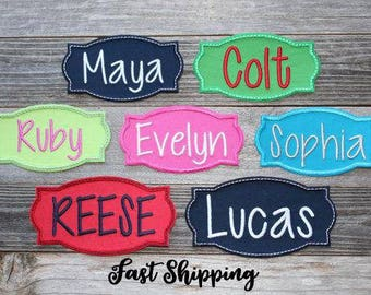 """Iron-on Name Patch Applique (ONE) 3.75"""", 4.75"""" OR 6.75"""" ***Ready to Ship in 1-2 Days!"""