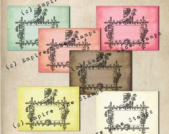 Shabby Collage Antique Style Gift Tags Instant Download 18th Century Frames in Modern Colours