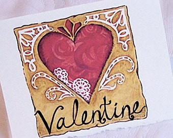 VALENTINE  Note Cards, Set of Six
