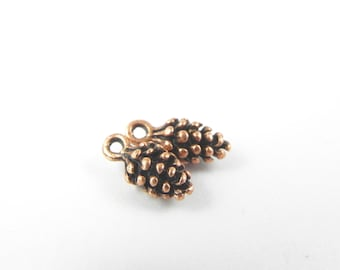20 Pine Cone Charms - Antique Copper - 3D - Lead Free - 13mm x 6mm x 5mm