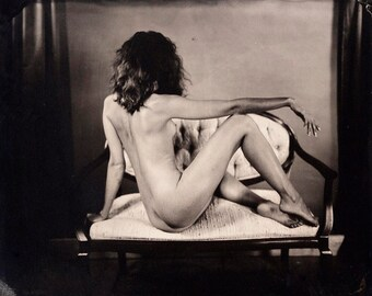 Nude Photographic Art Print from a Wet Plate Collodion Tintype. Model on Settie.