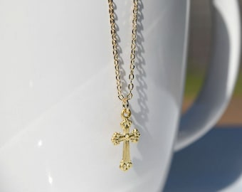 Cross  gold necklace,  charm necklace, bridesmaid gift, gift necklace, G3