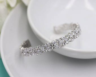 Bridal bracelet, Cuff Wedding Bracelet, Silver cz wedding bracelet, cz bracelet, cubic zirconia bracelet, Emersyn Cuff Bracelet