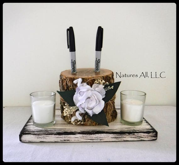 Pen Holder AND Rustic Wood Base/Guest Book Pen Holder-Ash With Satin Flower And Distressed White Base/Log Pen Holder/Rustic Decor
