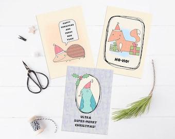 Cute Christmas card pack printables, xmas cards, woodland animal Christmas cards, funny Christmas cards, Holiday cards, printable cards