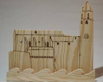 Support tablette bois palette,bois brut,bois recyclé, pyrogravure, bois naturel, Collioure