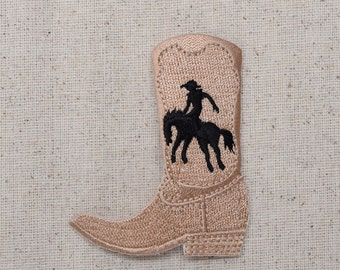 Western - Cowboy Boot - Cowboy and Horse Silhouette - Taupe - Tan - Iron on Applique - Embroidered Patch