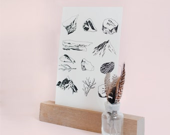 screen print poster / Silkscreen wall art / black and white screen print / nature prints