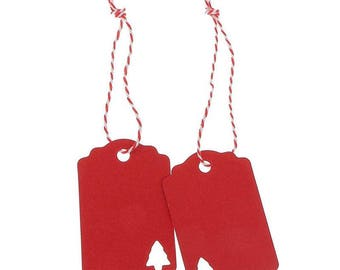 Red Christmas Tree Cut-out Gift Tags - Kraft Paper - Seasonal Festive Supplies - Gift Wrapping - Cardmaking - Party Favor - Packs of 10