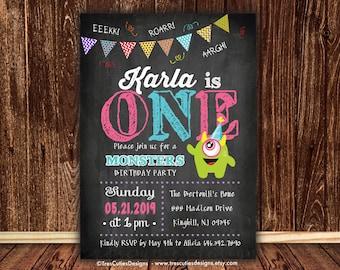 First Birthday Invitation Girl - Monster Birthday Invitation - First - Two - Three - Printable