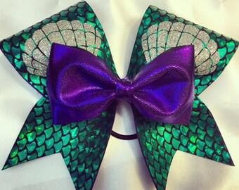 Disney inspired mermaid green and purple cheer bow