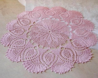 Large crochet doily Pink linen lace doilies Pineapple crochet doilies Crochet table decoration 100