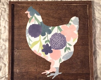 Floral Chicken Silhouette Sign