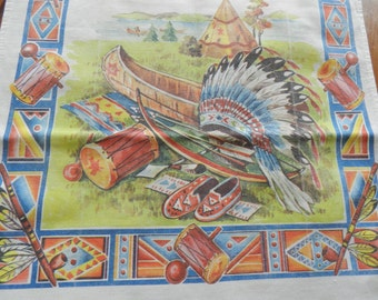 Native American Towel,  Indian Print Towel, Novelty Kitchen Towel,  Man Cave Towel, 1950s Kitchen Towel, Prismacolor Towel, Never Used Towel