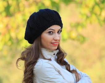 Black knit hat women, Black winter hat, Black slouchy beanie