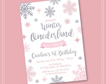 20% OFF SALE Winter Onederland Invitation, Pink and Silver, Birthday, Winter Onederland, Girl Onederland Invitation, 1st Winter Birthday