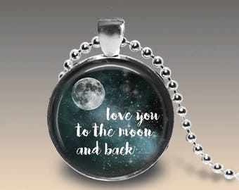 I Love You To The Moon Necklace Love You To The Moon Pendant Moon Necklace