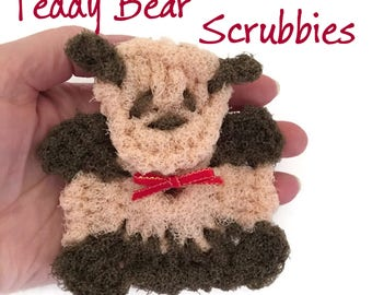 Teddy Bear Pot Scrubbers- Bear Dish Scrubbers,Stocking Stuffer,Bear Gift,Multi-dimensional Teddy Bear,Kitchen Decor, Teddy Bear Gift for Her