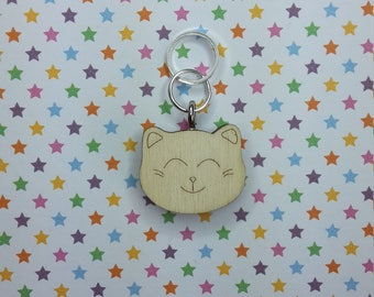 Neko Head wooden stitch marker - knitting notions - charm