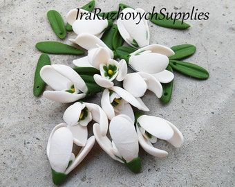 10 pcs. snowdrops flowers , polymer clay flower bead