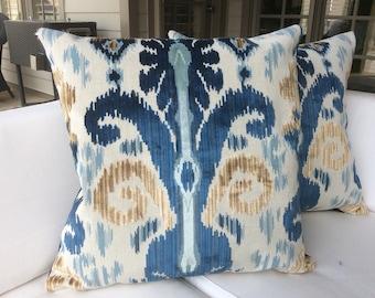 """Lee Jofa """"Pardah"""" in blue velvet -pillow cover"""