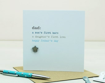 Sentimental Father's Day Card - Special Card For Dad With Heart Or Star Embellishment