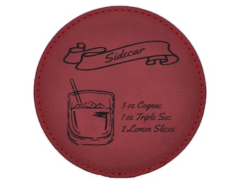Sidecar Drink Coasters - Old Fashioned Mixed Drink Recipies - Choice of Coaster Color and Shape - 092