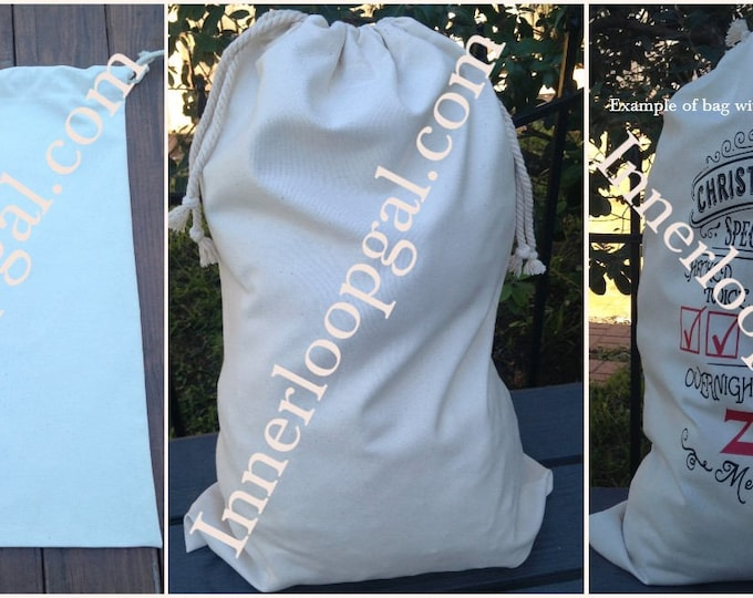 Drawstring Canvas Sack/ Santa Sack/ Laundry Sack/ Drawstring Bag