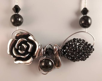 Silver and black rose necklace