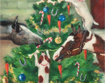 Christmas Cards Of Horses And Dogs Decorating Tree Tis The Season