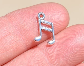 BULK 50  Silver Music Note Charms SC4010